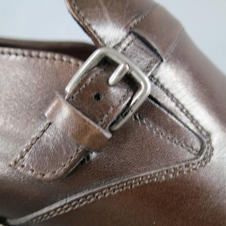 Men's SALVATORE FERRAGAMO Size 8.5 Brown Leather Monk Strap Loafers 5
