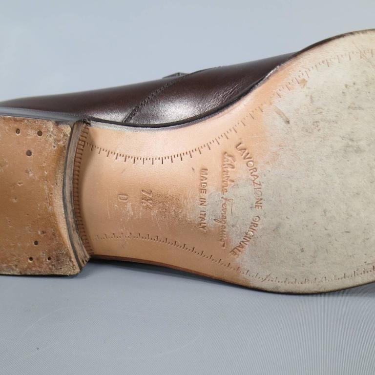 Men's SALVATORE FERRAGAMO Size 8.5 Brown Leather Monk Strap Loafers 7