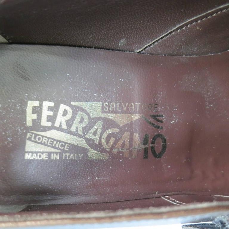 Men's SALVATORE FERRAGAMO Size 8.5 Brown Leather Monk Strap Loafers 8