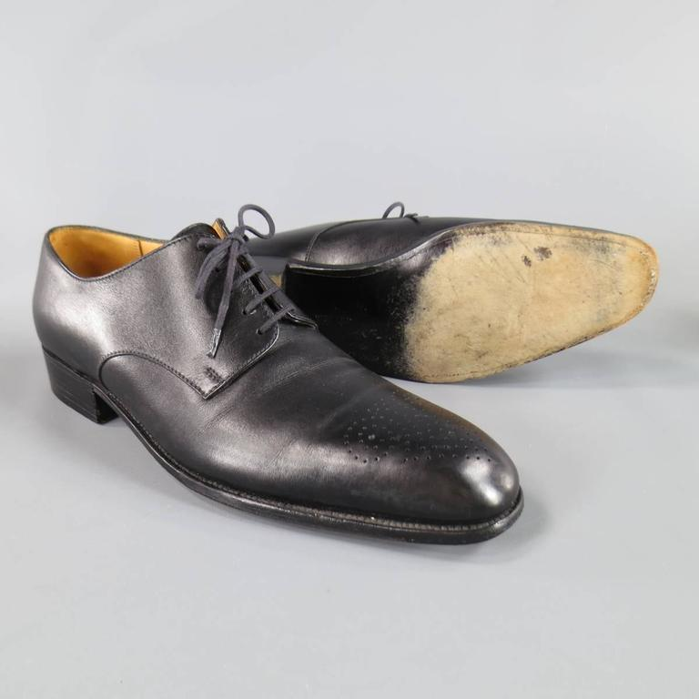 32df8c61937f6 Men's J.M. WESTON Dress Shoe - Size 7 Black Leather Wingtip Lace Up Shoes