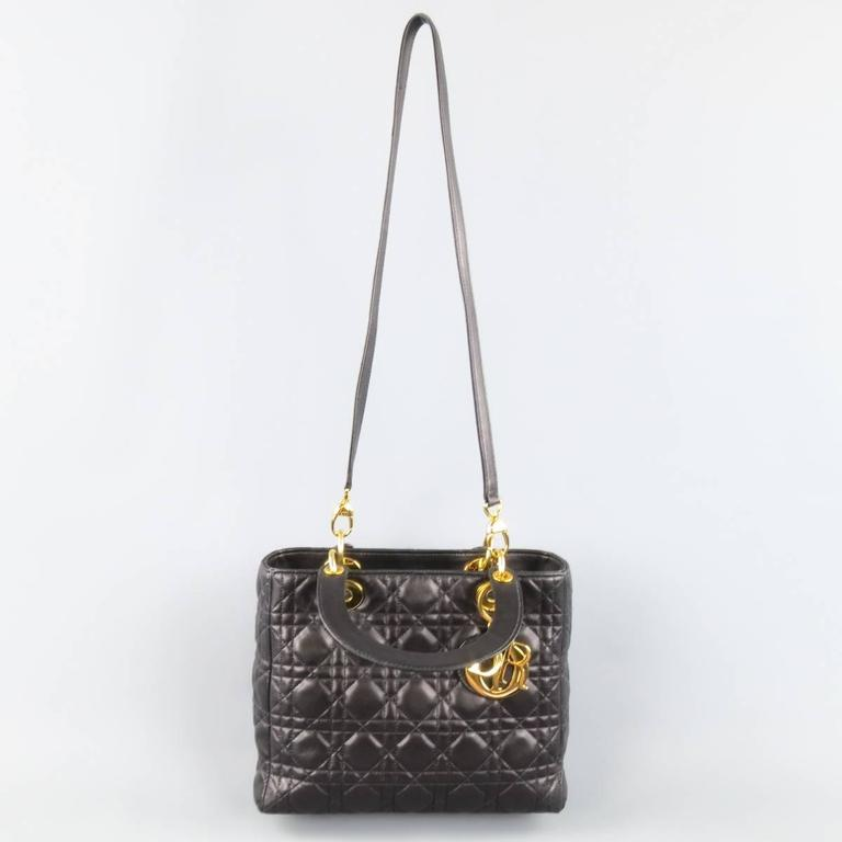 Vintage CHRISTIAN DIOR Medium Lady Dior. CHRISTIAN DIOR Black   Gold Cannage  Quilted Leather Medium Lady Dior Bag In Excellent Condition For 1b8b772d659f2
