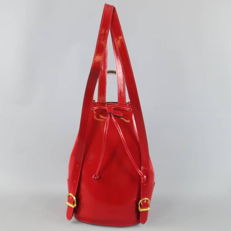 Vintage SALVATORE FERRAGAMO Red Patent Leather Drawstring Bucket Backpack 5