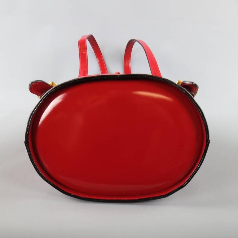 Vintage SALVATORE FERRAGAMO Red Patent Leather Drawstring Bucket Backpack For Sale 3