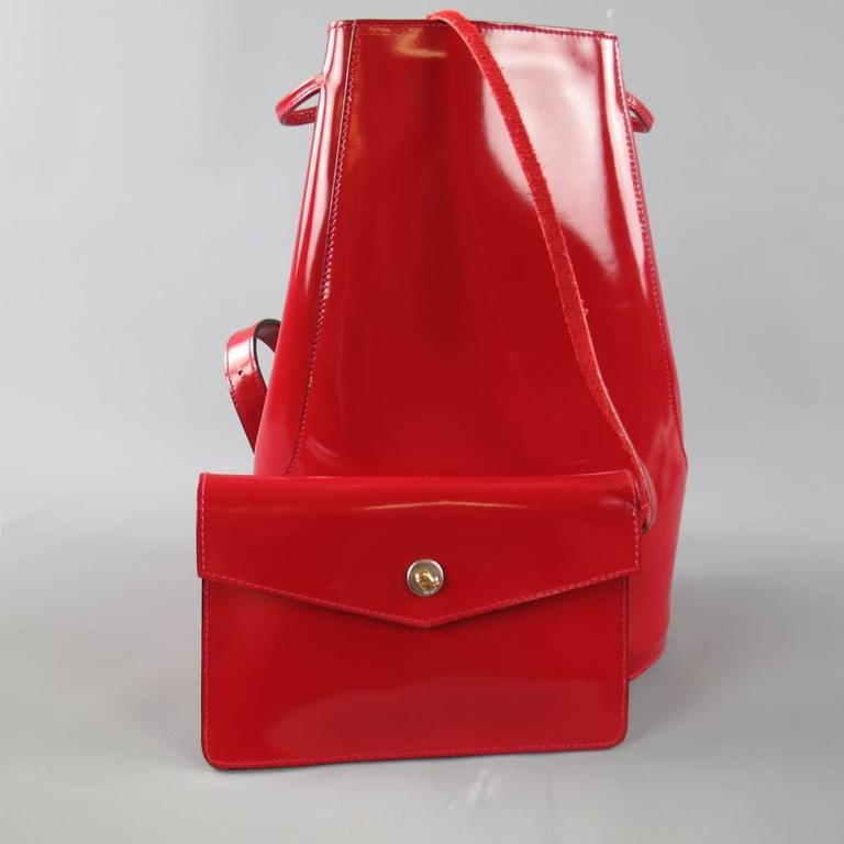Vintage SALVATORE FERRAGAMO Red Patent Leather Drawstring Bucket Backpack 8