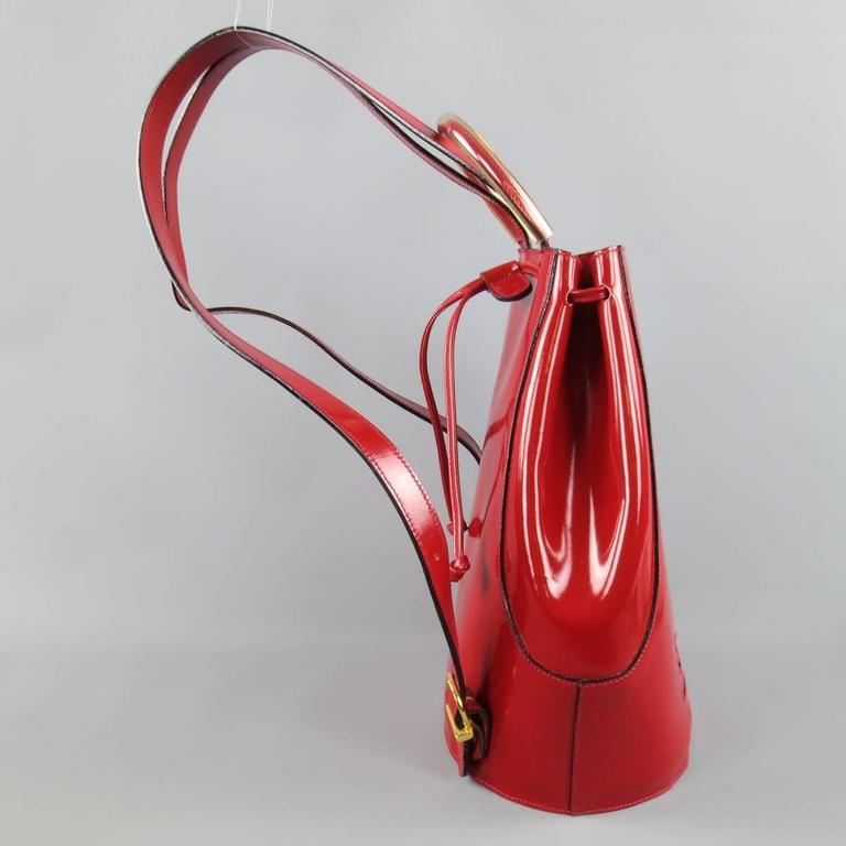 Vintage SALVATORE FERRAGAMO Red Patent Leather Drawstring Bucket Backpack 4