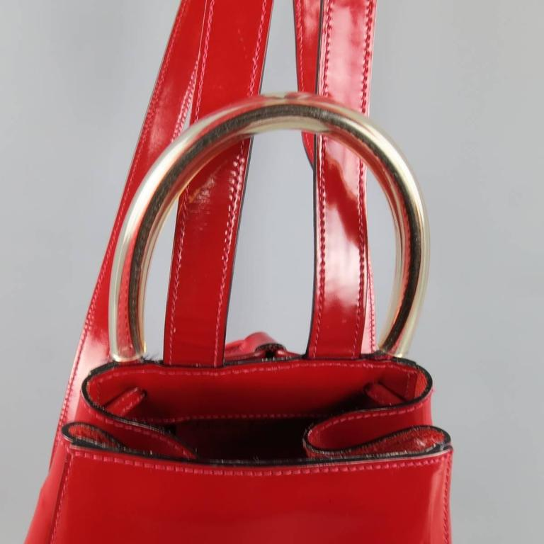 Vintage SALVATORE FERRAGAMO Red Patent Leather Drawstring Bucket Backpack 3