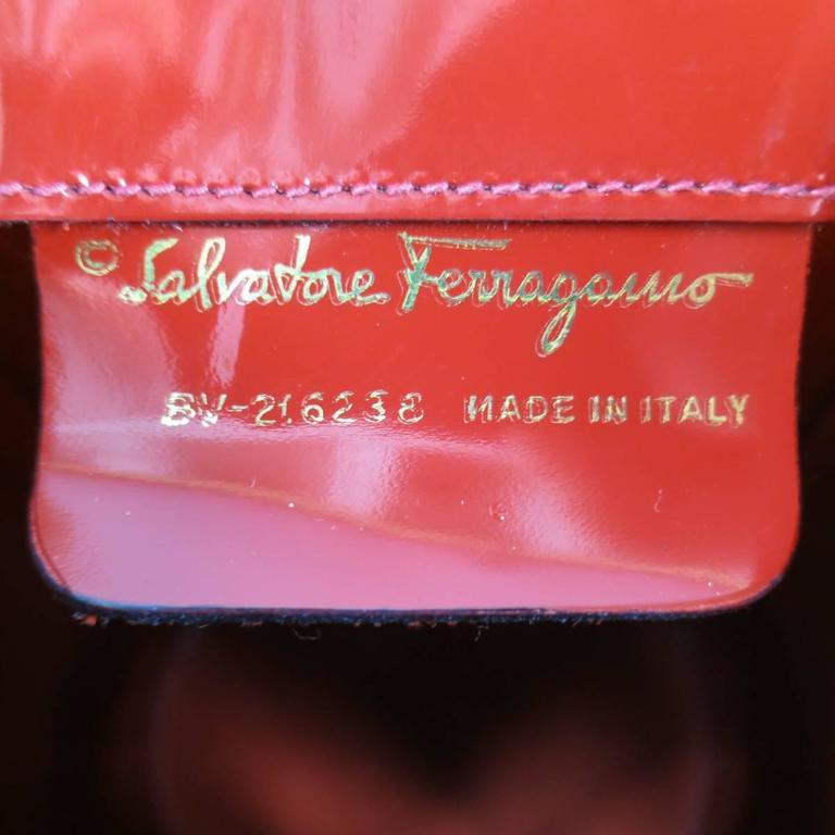 Vintage SALVATORE FERRAGAMO Red Patent Leather Drawstring Bucket Backpack For Sale 6