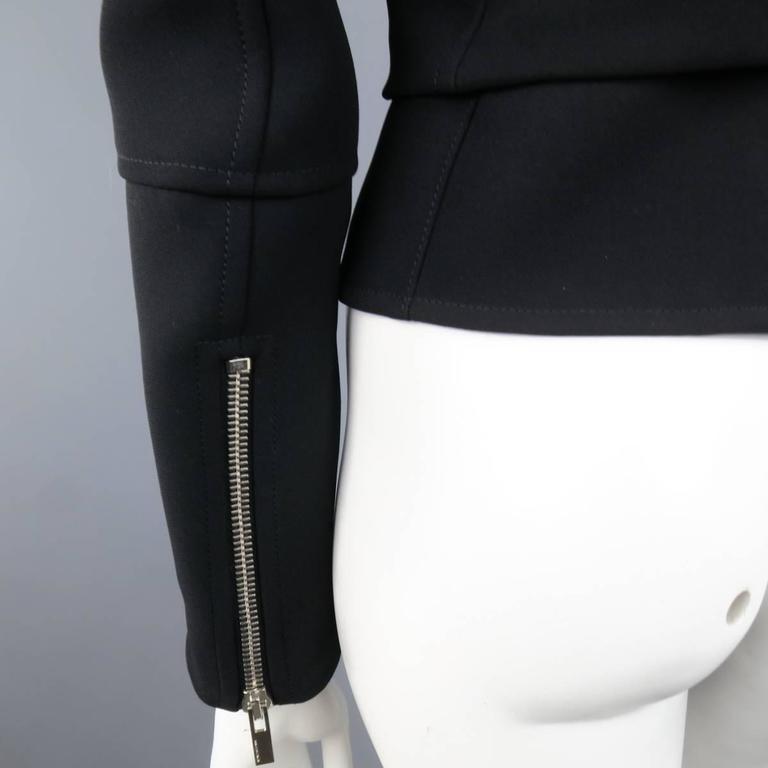 BALENCIAGA Nicolas Ghesquiere Size 4 Black Silver Zip Cropped Motorcycle Jacket 5