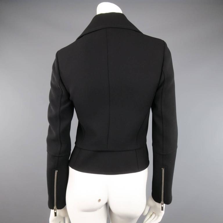 BALENCIAGA Nicolas Ghesquiere Size 4 Black Silver Zip Cropped Motorcycle Jacket 6