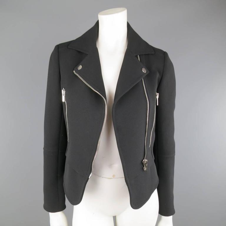 BALENCIAGA Nicolas Ghesquiere Size 4 Black Silver Zip Cropped Motorcycle Jacket 4