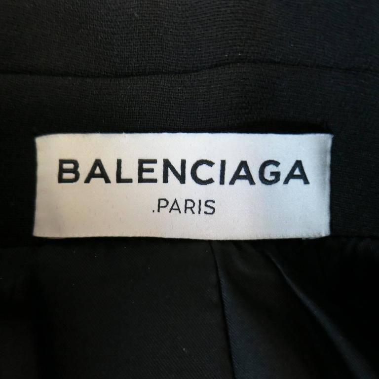 BALENCIAGA Nicolas Ghesquiere Size 4 Black Silver Zip Cropped Motorcycle Jacket 8