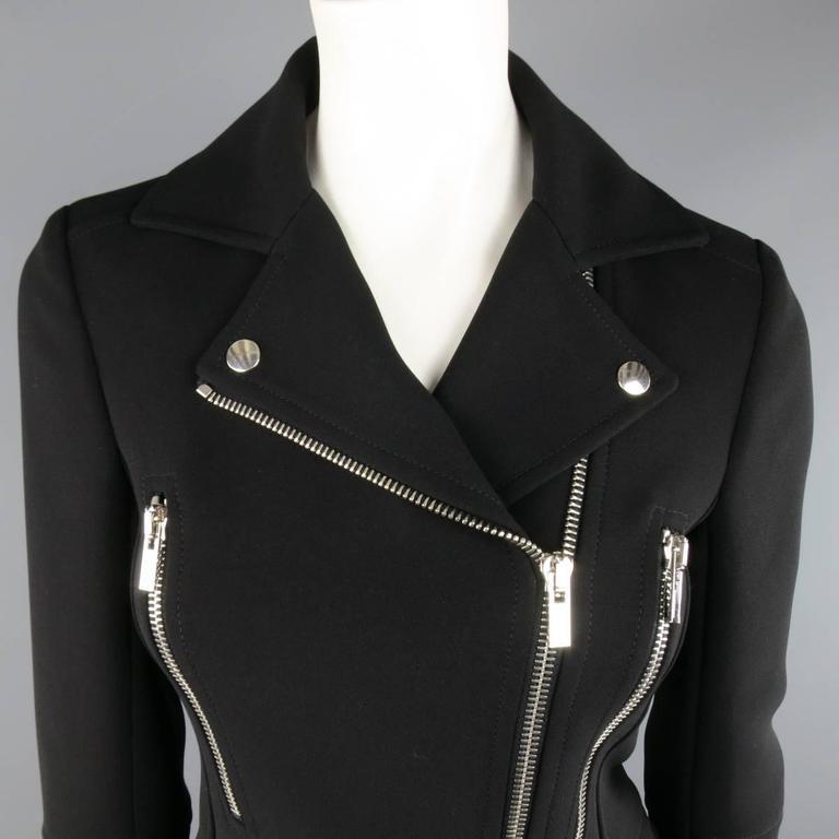 BALENCIAGA Nicolas Ghesquiere Size 4 Black Silver Zip Cropped Motorcycle Jacket 2