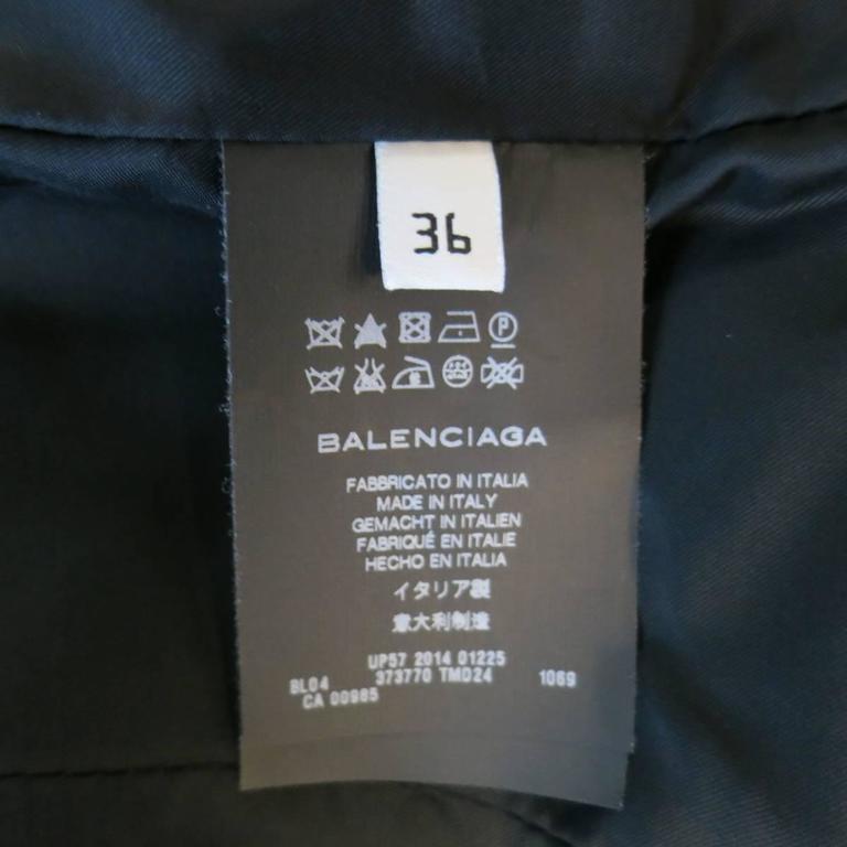 BALENCIAGA Nicolas Ghesquiere Size 4 Black Silver Zip Cropped Motorcycle Jacket 7