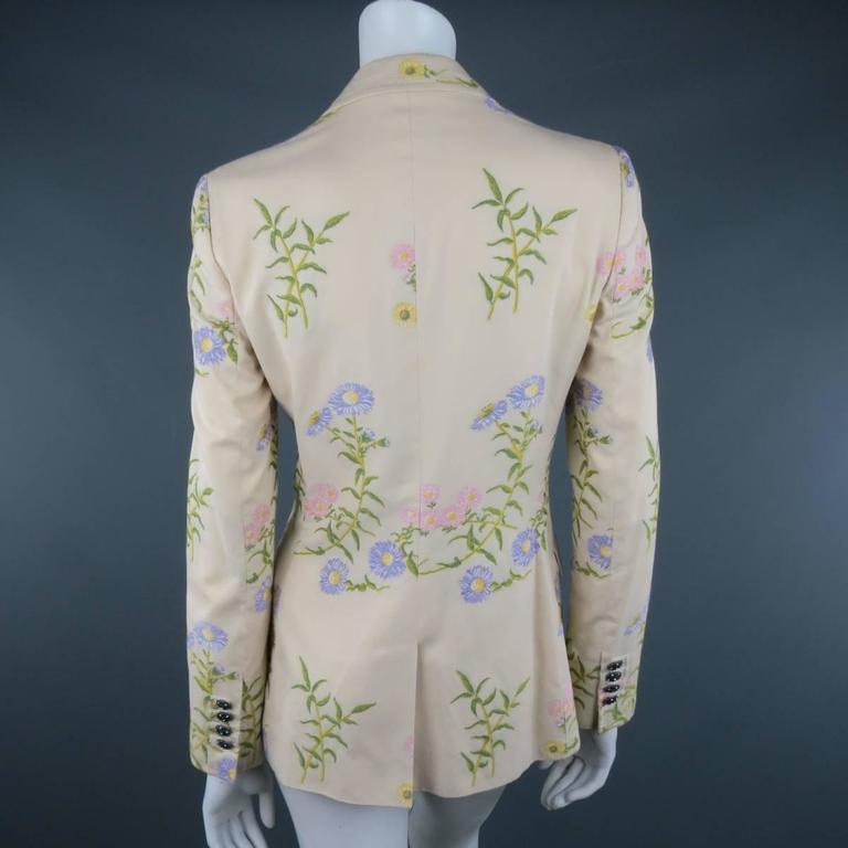 DOLCE & GABBANA Size 6 Beige Pink & Purple Floral Print Blazer 4