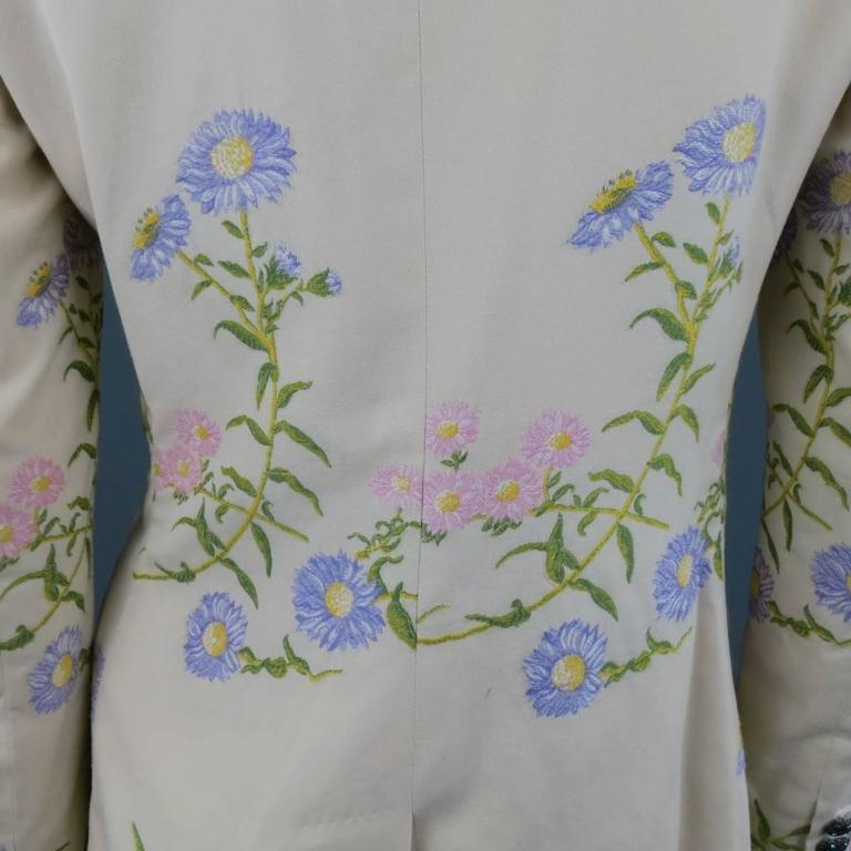 DOLCE & GABBANA Size 6 Beige Pink & Purple Floral Print Blazer 5