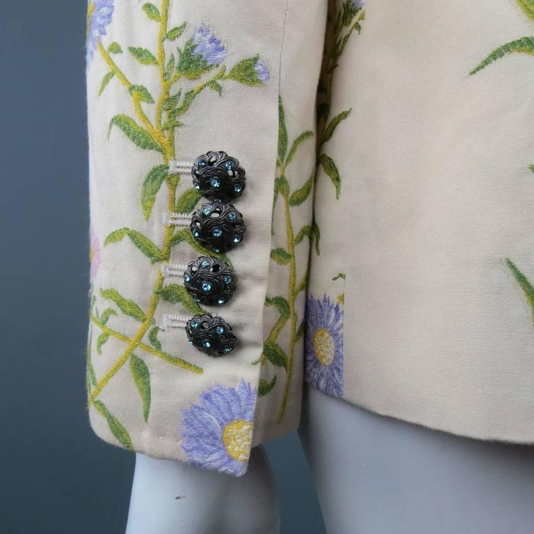 DOLCE & GABBANA Size 6 Beige Pink & Purple Floral Print Blazer 6