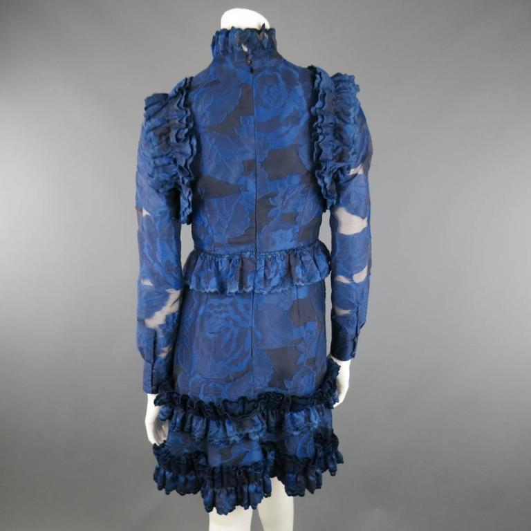 ERDEM Size 4 Navy Blue Floral Ruffled LORA Cocktail Dress 9