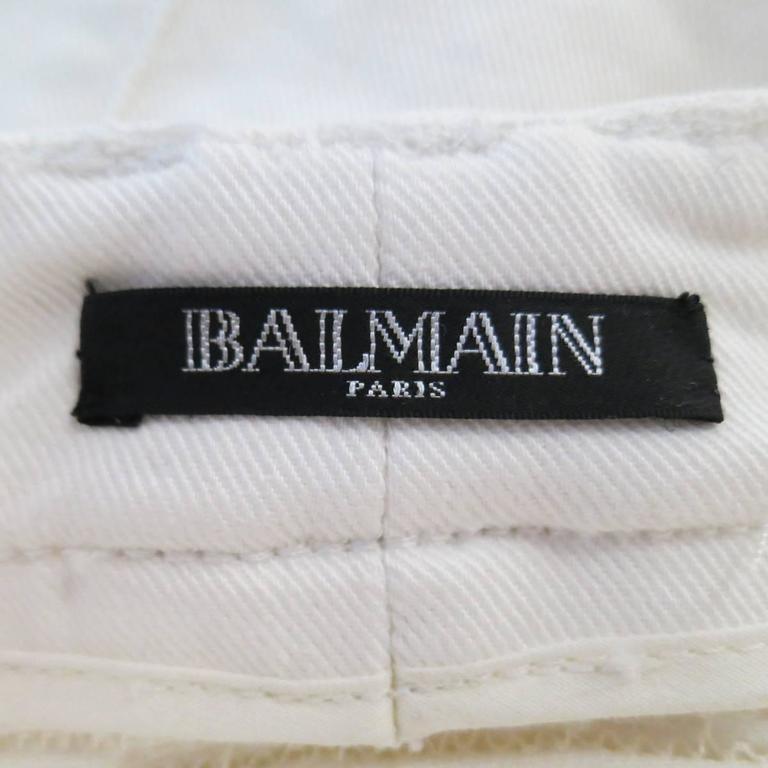 BALMAIN Jeans Size 4 White Cotton Gold Zip Moto 8