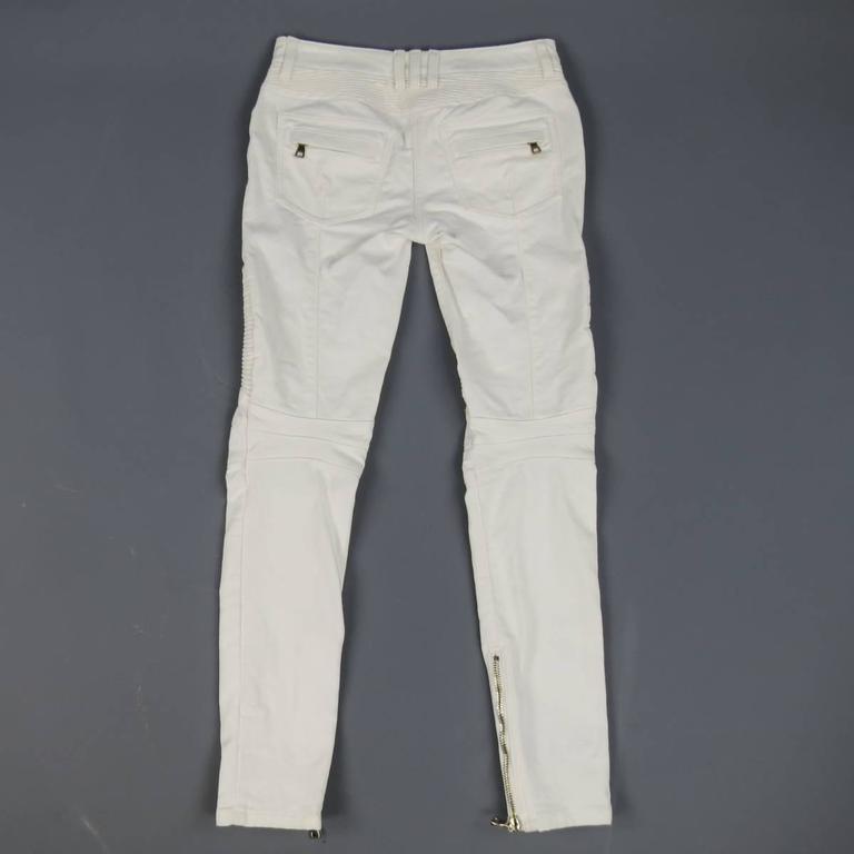 BALMAIN Jeans Size 4 White Cotton Gold Zip Moto 7