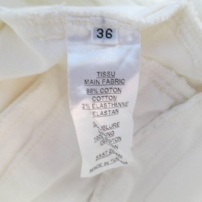 BALMAIN Jeans Size 4 White Cotton Gold Zip Moto 9