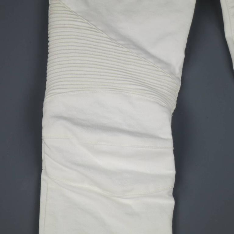 BALMAIN Jeans Size 4 White Cotton Gold Zip Moto 3