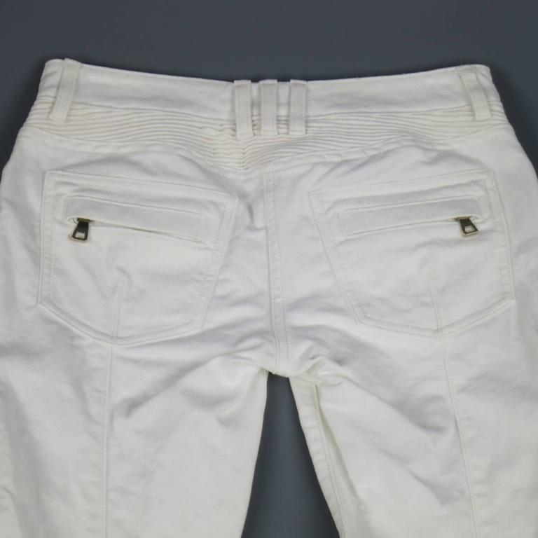 BALMAIN Jeans Size 4 White Cotton Gold Zip Moto 6