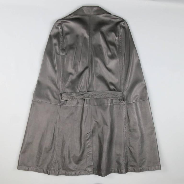 ANN DEMEULEMEESTER 38 Black Leather Double Breasted Pointed Lapel Cape 6