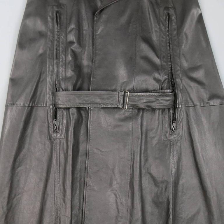 ANN DEMEULEMEESTER 38 Black Leather Double Breasted Pointed Lapel Cape 5