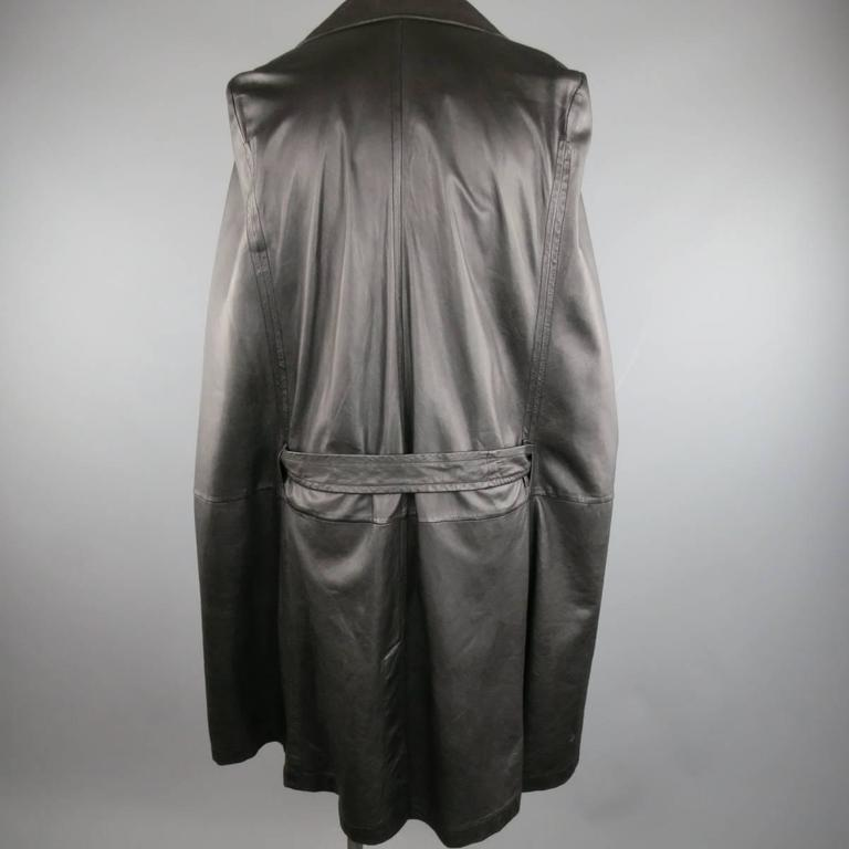 ANN DEMEULEMEESTER 38 Black Leather Double Breasted Pointed Lapel Cape 8