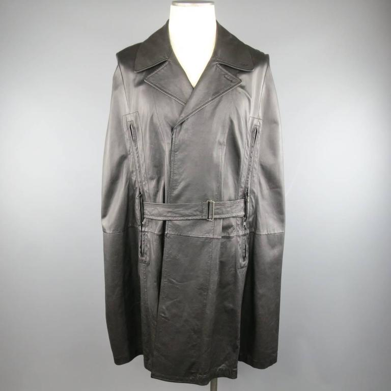 ANN DEMEULEMEESTER 38 Black Leather Double Breasted Pointed Lapel Cape 2