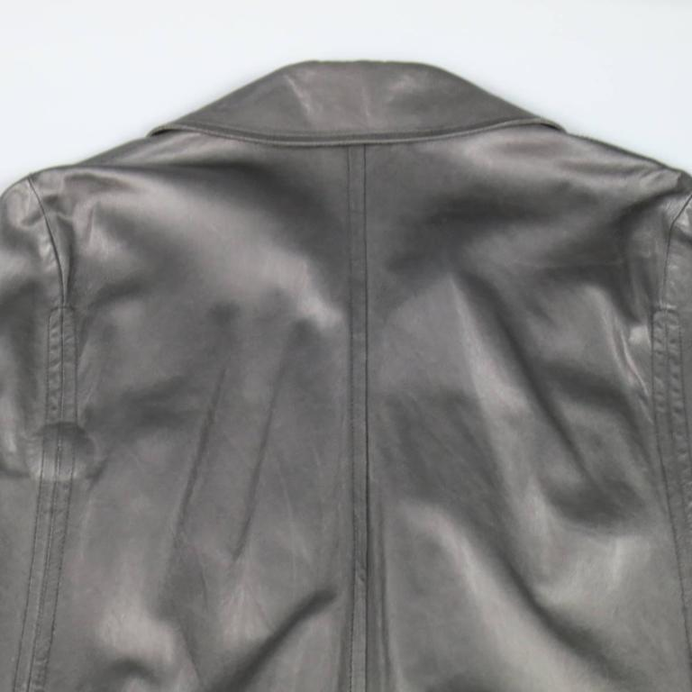 ANN DEMEULEMEESTER 38 Black Leather Double Breasted Pointed Lapel Cape 9
