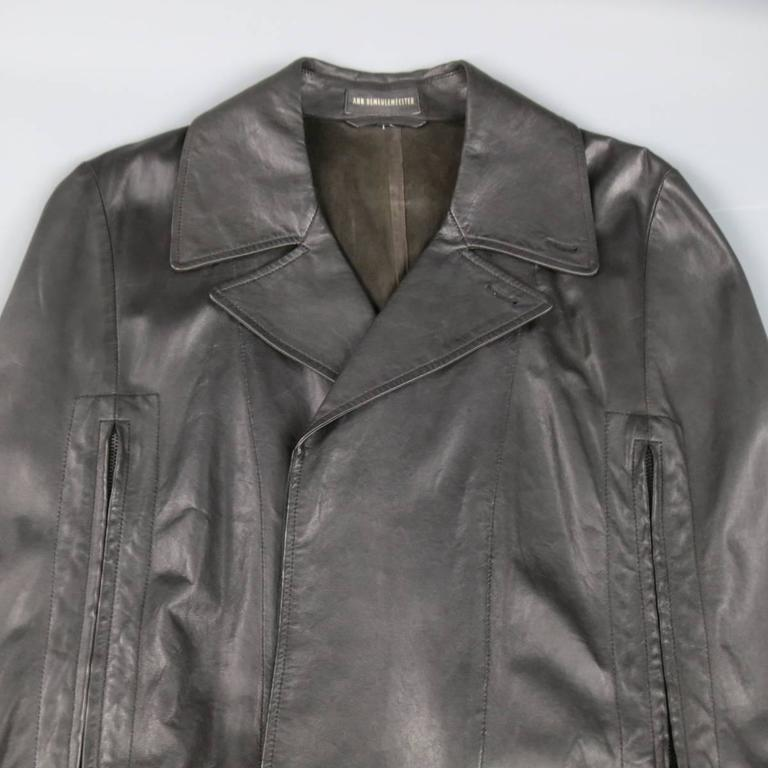 ANN DEMEULEMEESTER 38 Black Leather Double Breasted Pointed Lapel Cape 3