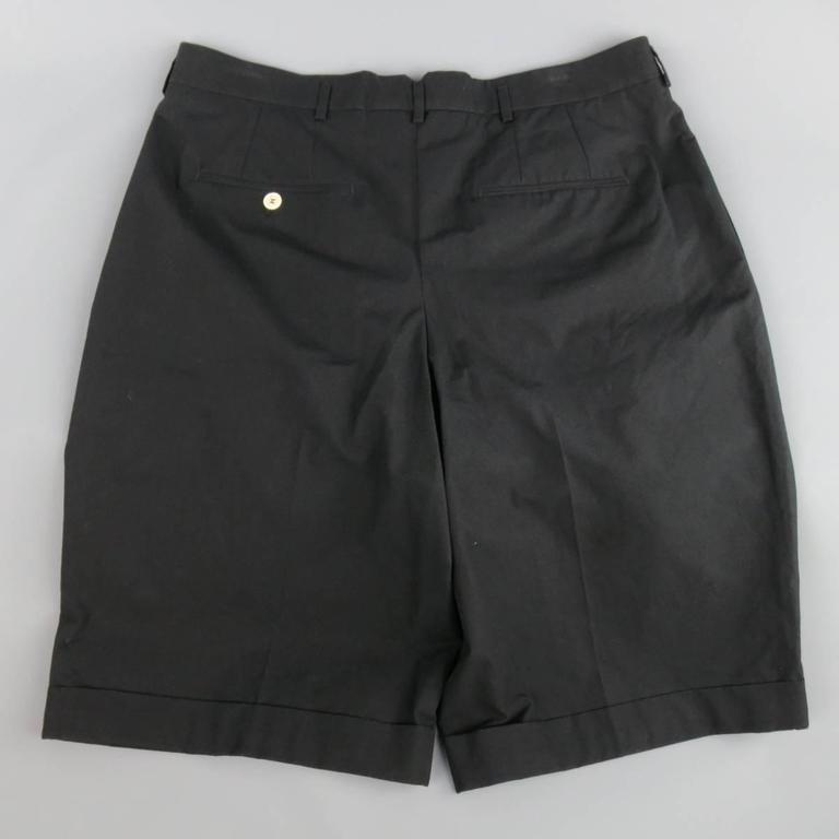 Men's ALEXANDER MCQUEEN Size 36 Black Cotton Pleated Cuffed Shorts 3