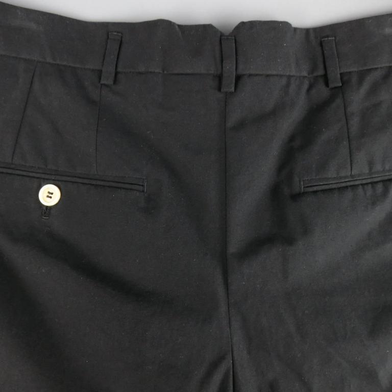Men's ALEXANDER MCQUEEN Size 36 Black Cotton Pleated Cuffed Shorts 5