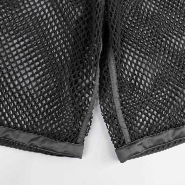 Men's MOSCHINO COUTURE Size 30 Black Fishnet Mesh Drawstring Shorts 3