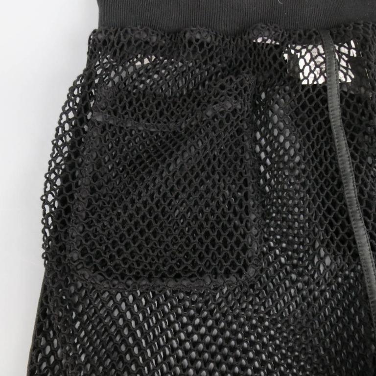 Men's MOSCHINO COUTURE Size 30 Black Fishnet Mesh Drawstring Shorts 5