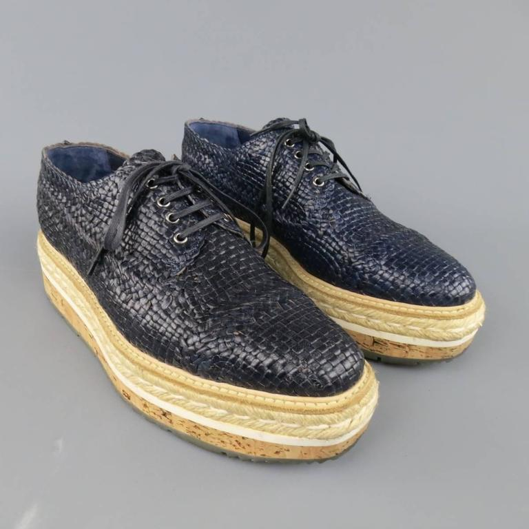 Beige Prada Navy Woven Leather Cork Platform Dress Shoes For Sale