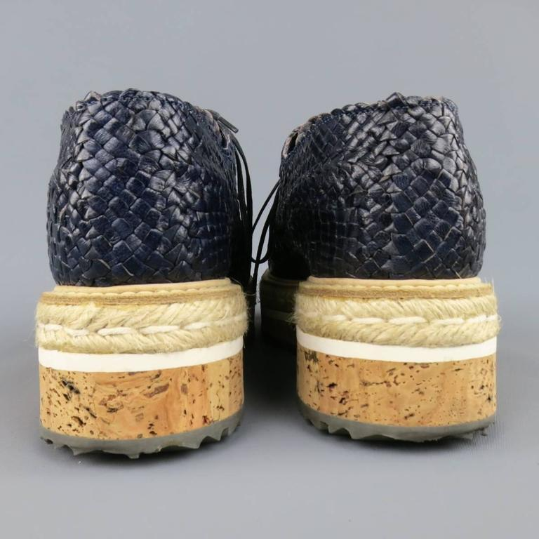 Prada Navy Woven Leather Cork Platform Dress Shoes For Sale 2