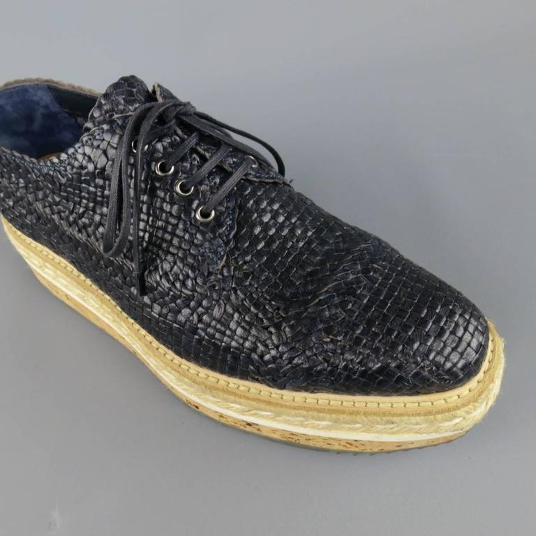 Women's Prada Navy Woven Leather Cork Platform Dress Shoes For Sale