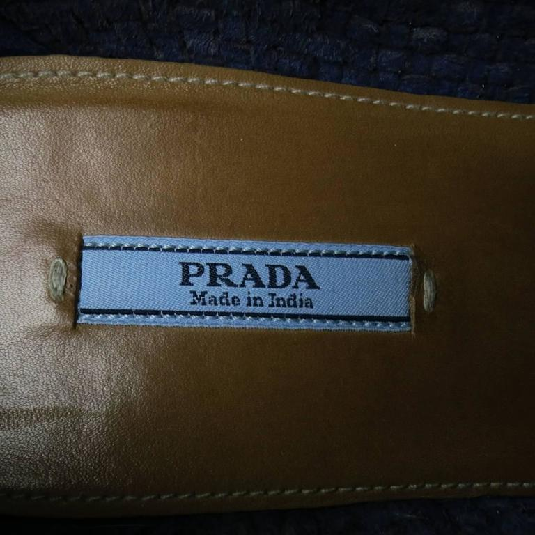 Prada Navy Woven Leather Cork Platform Dress Shoes For Sale 4