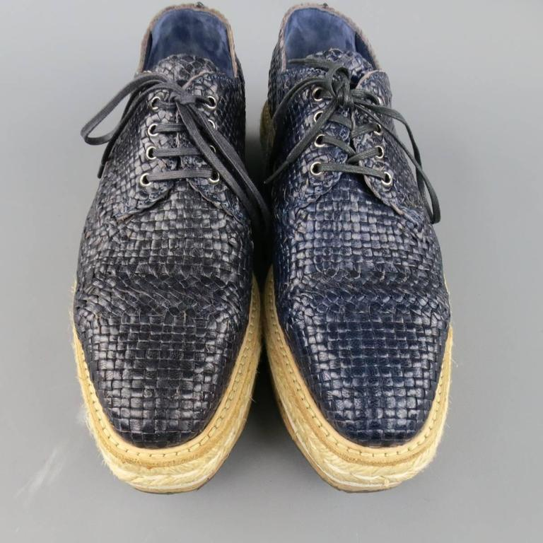 Prada Navy Woven Leather Cork Platform Dress Shoes In Good Condition For Sale In San Francisco, CA