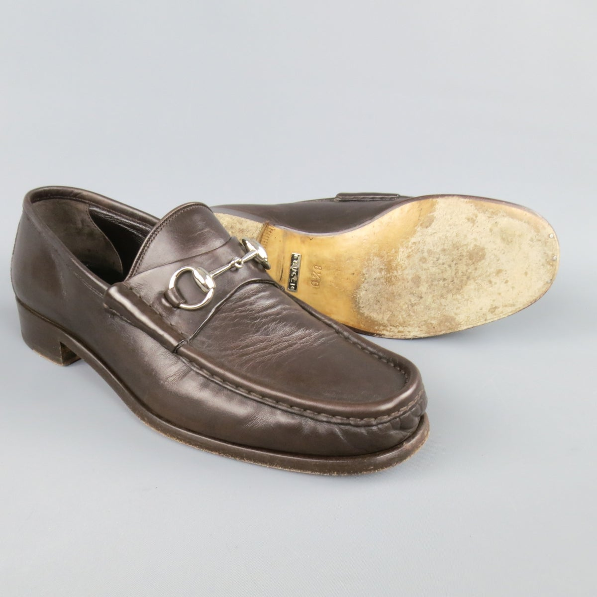8c100992a Men's GUCCI Size 9.5 Brown Solid Leather Silver Horsebit Loafers at 1stdibs