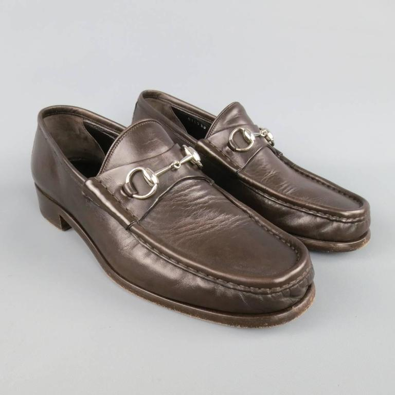 Men's GUCCI Size 9.5 Brown Solid Leather Silver Horsebit Loafers 2