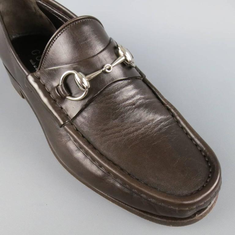 Men's GUCCI Size 9.5 Brown Solid Leather Silver Horsebit Loafers 4