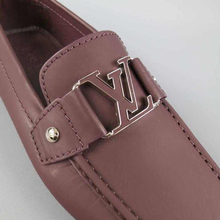 01bae2eb172 Men s LOUIS VUITTON Size 6 Prune Brown Ruberized Leather Monte Carlo Loafers  In New Condition For