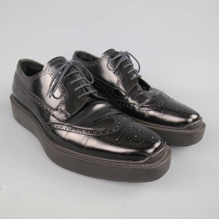 Men's PRADA Size 12 Black Leather Wingtip Platform Rubber Sole Lace Up In Excellent Condition For Sale In San Francisco, CA