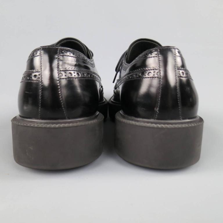 Men's PRADA Size 12 Black Leather Wingtip Platform Rubber Sole Lace Up For Sale 2