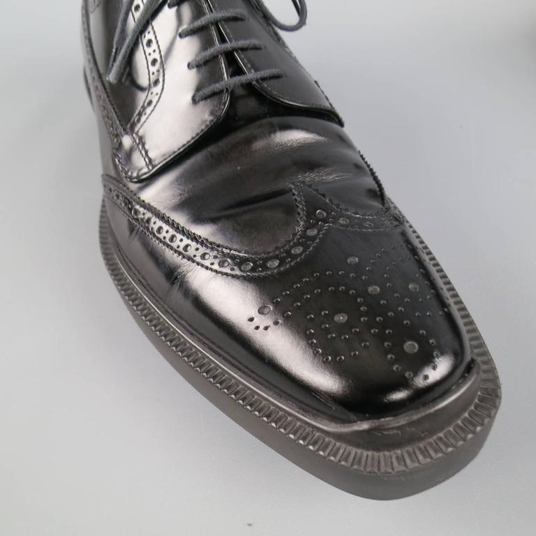 Men's PRADA Size 12 Black Leather Wingtip Platform Rubber Sole Lace Up For Sale 1