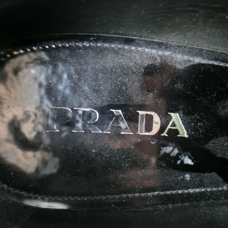 Men's PRADA Size 12 Black Leather Wingtip Platform Rubber Sole Lace Up For Sale 4