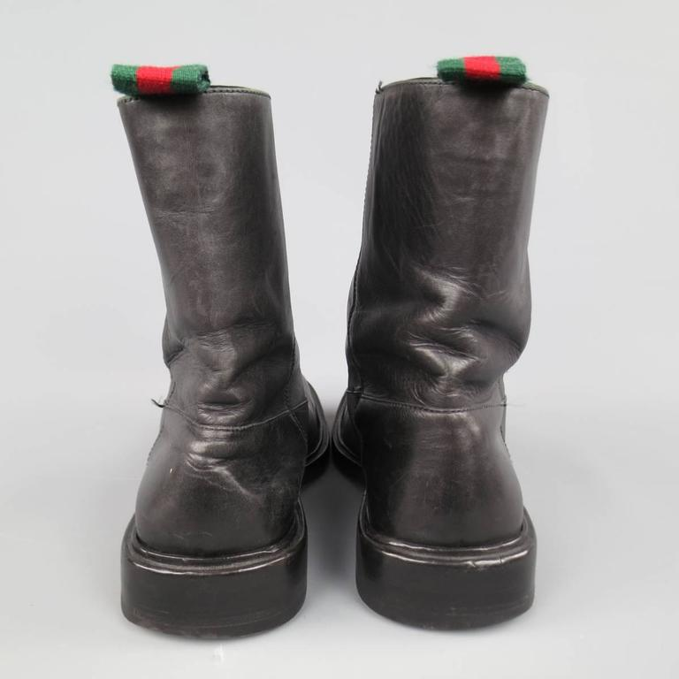 Men's GUCCI Size 11 Black Leather Striped Webbing Tab Biker Boots For Sale 2